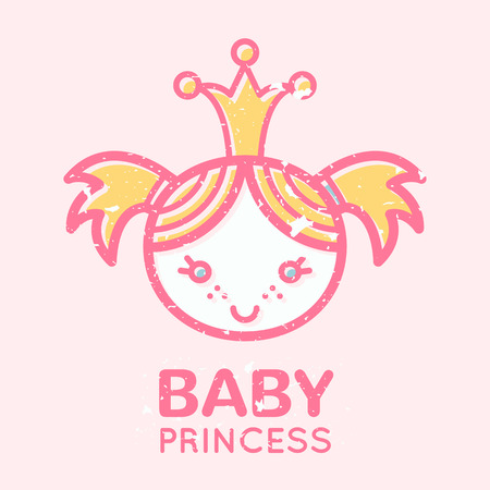babyish: Babyish emblem with cute little girl (baby princess). Pastel color palette (pink, pale pink, yellow). Flat minimalistic image with grunge texture (texture is easy to remove)