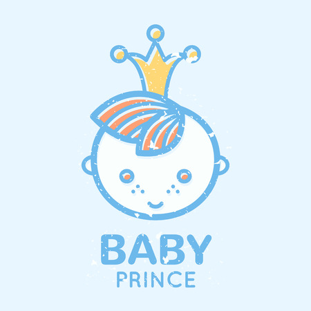 Babyish emblem with cute little boy (baby prince). Pastel color palette (blue, pale blue, yellow). Flat minimalistic image with grunge texture (texture is easy to remove) Иллюстрация