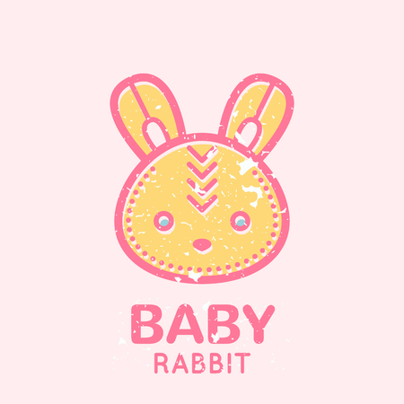 babyish: Babyish emblem with cute little bunny (baby rabbit). Pastel color palette (pink, pale pink, yellow). Flat minimalistic image with grunge texture (texture is easy to remove)
