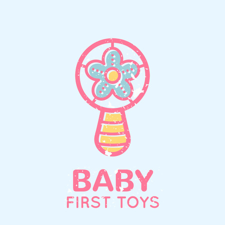 beanbag: Babyish emblem with a beanbag (babys first toys). Pastel color palette (pink, pale pink, yellow). Flat minimalistic image with grunge texture (texture is easy to remove)