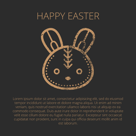 minimalist: Happy Easter Greeting card template in minimalist ethnic style.