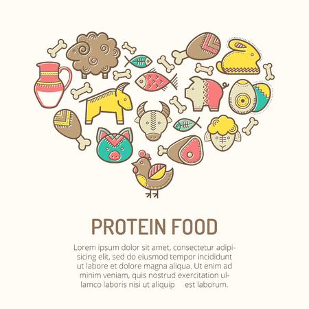 Ilustración del vector con los iconos descritos alimentos de proteína (carne de cerdo, carne de vaca, cordero, carne, leche, huevos, pescado, pollo, conejo) en estilo étnico creativo. emblemas nutricionales que forman una forma de corazón. Feliz paleta de colores infantil