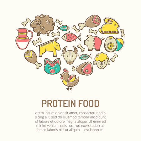 protein food: Vector illustration with outlined protein food icons (pork, beef, lamb, meat, milk, eggs, fish, chicken, rabbit) in creative ethnic style. Nutritional emblems forming a heart shape. Happy babyish color palette