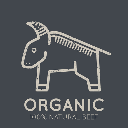 nutritional: Nutritional emblem with a cows meat symbol in flat linear ethnic style on a dark background. Illustration