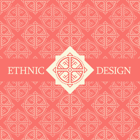archaic: Vector seamless pattern with ethnic regular ornament (archaic circular symbol). Stylish ethnic design with rose-shaped decoration. Bright color palette (red and off-white) Illustration
