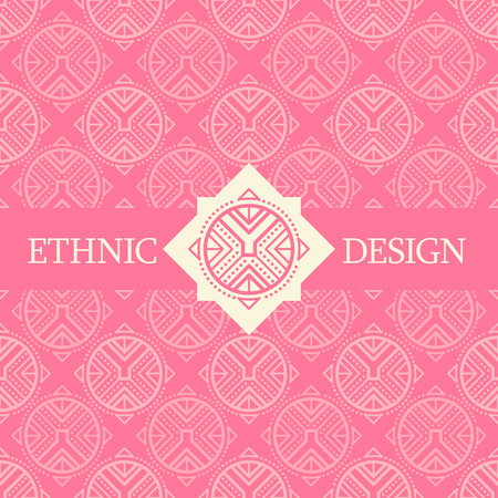 archaic: Vector seamless pattern with ethnic regular ornament (archaic circular symbol). Stylish ethnic design with rose-shaped decoration. Bright color palette (vibrant pink and off-white) Illustration