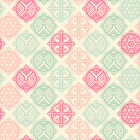 archaic: Vector seamless pattern with ethnic regular ornament (archaic circular symbol). Stylish ethnic design with rose-shaped decoration. Lovely color palette (vibrant pink, pale pink and sea green)
