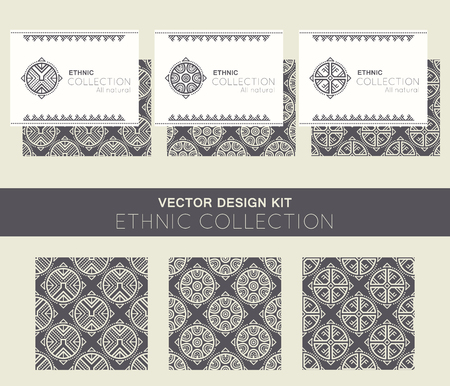 archaic: Vector design kit with business card templates and seamless patterns with ethnic regular ornament (archaic circular symbol). Stylish ethnic design with rose-shaped decoration. Black and white