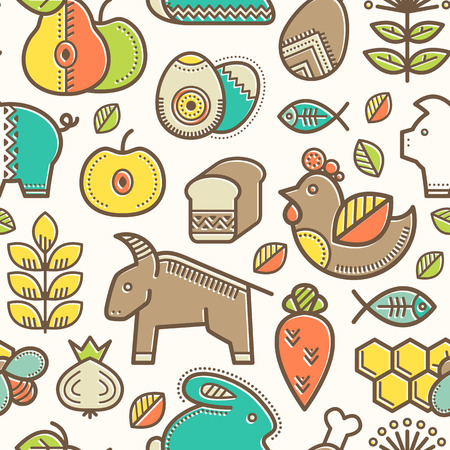 babyish: Seamless pattern with outlined food signs (cereals, fruits, meat, vegetables, milk, eggs, fish, honey) in creative ethnic style. Happy babyish color palette