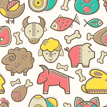 veal: Seamless pattern with outlined food signs (protein food signs - pork meat, veal, mutton, rabbit, eggs, fish) in creative ethnic style. Happy babyish color palette