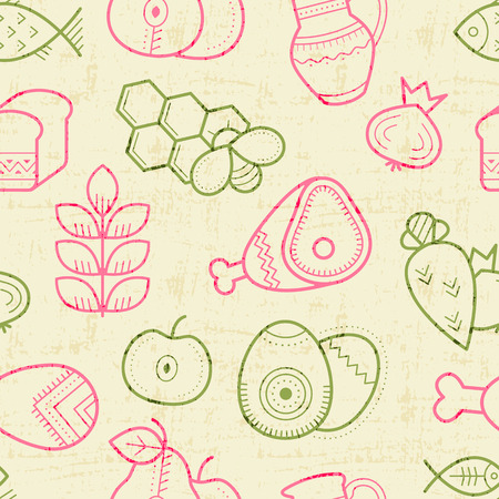 is outlined: Seamless pattern with outlined food signs