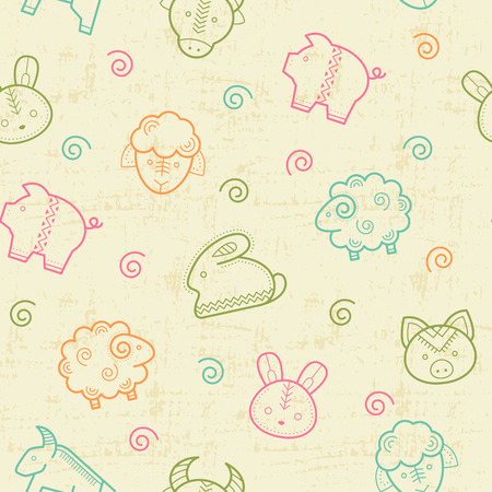 babyish: Seamless pattern with outlined animal signs (sheep, pig, rabbit, bull) in creative ethnic style. Happy babyish color palette