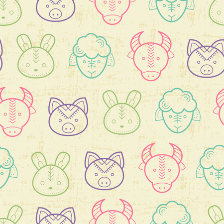 babyish: Seamless regular pattern with outlined farm animals (lamb, cow, pig, rabbit) in cute childish style. Happy and babyish color palette Illustration