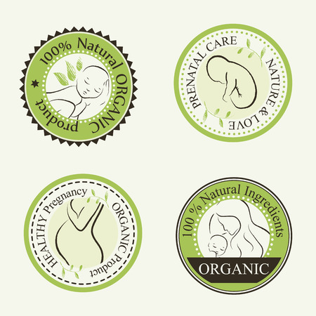 nude body: Set of Organic Cosmetics Design elements (round badges) with contoured pregnant women, mother, unborn and newborn babies decorated by hand drawn green leaves