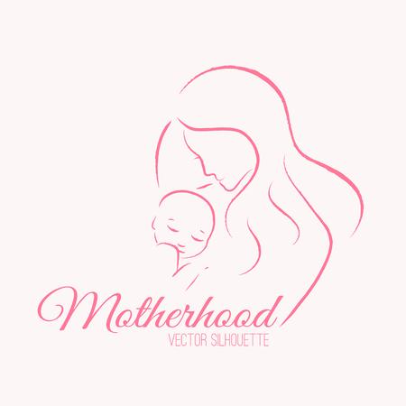 Elegancka matka i nowo narodzone dziecko w sylwetki liniowego stylu szkicu. Macierzyństwo, dzień matki - wyprofilowane ilustracji