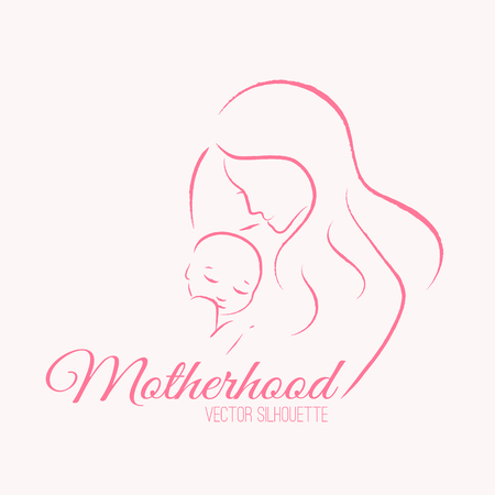 female pink: Elegant mother and newborn baby silhouettes in a linear sketch style. Motherhood, mothers day - contoured illustration