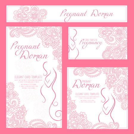 awaiting: Pregnant Woman - Elegant Card Template with contoured woman silhouette and floral ornament. Illustration