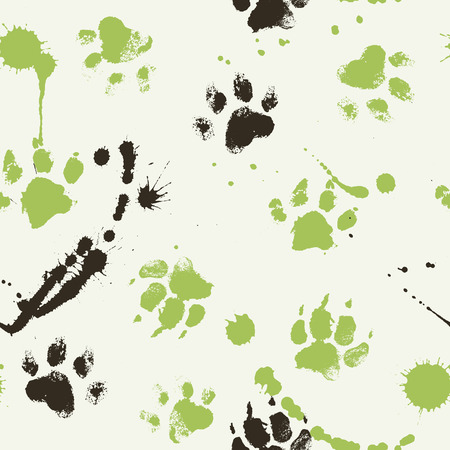 smears: Vector seamless pattern with paw footprints of a dog (wolf), stains and smears.