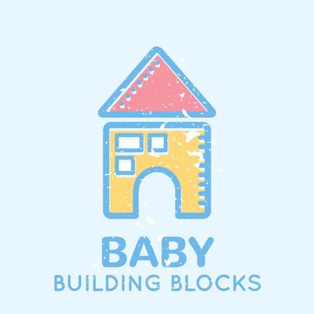 babyish: Babyish emblem with a building blocks (educational toys). Pastel color palette (blue, pink, yellow). Flat minimalistic image with grunge texture (texture is easy to remove) Illustration