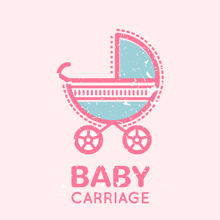 babyish: Babyish emblem with a carriage. Pastel color palette (pink, pale pink, blue). Flat minimalistic image with grunge texture (texture is easy to remove) Illustration