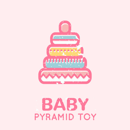 babyish: Babyish emblem with a pyramid toy (educational toys). Pastel color palette. Flat minimalistic image with grunge texture (texture is easy to remove) Illustration