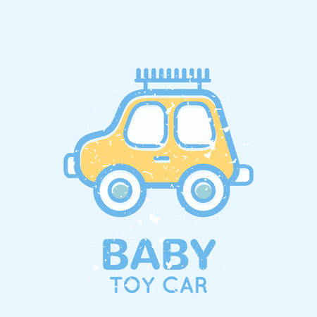babyish: Babyish emblem with a toy car (educational toy). Pastel color palette (blue, yellow). Flat minimalistic image with grunge texture (texture is easy to remove) Illustration