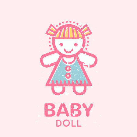 babyish: Babyish emblem with a doll (girls toys). Pastel color palette (pink, pale pink, blue). Flat minimalistic image with grunge texture (texture is easy to remove)