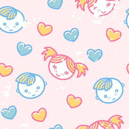 babyish: Seamless pattern with little boys and girls in cute childish style. Happy babyish color palette (pale pink, blue and yellow)