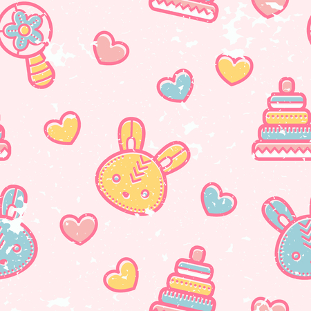babyish: Seamless pattern with little bunnies and pyramid toys in cute childish style. Happy babyish color palette (pale pink, blue and yellow)