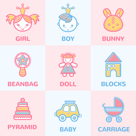 stuff toys: Set of colorful baby icons (smiling children, kids toys and stuff). Pastel color palette with pink and blue Illustration