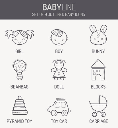 stuff toys: Set of outlined baby icons (smiling children, kids toys and stuff) in linear style. Monochrome, isolated on white background