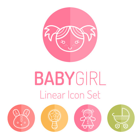 beanbag: Colorful baby icon set (smiling little girl and girls toys). Outlined round badges. Bright and happy color palette