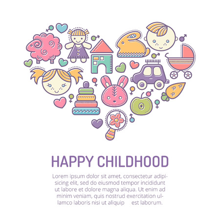 stroked: Vector illustration with stroked childrens icons forming a heart shape. Happy babyish color palette. Happy childhood - lovely design layout