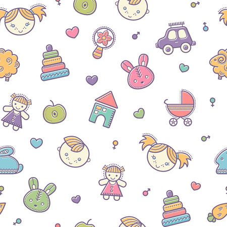 babyish: Seamless baby pattern with colorful babyish elements (toys, boys and girls). Happy pastel color palette