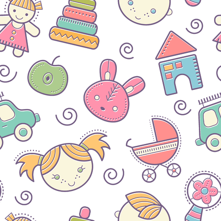 beanbag: Seamless baby pattern with colorful babyish elements (toys, boys and girls). Happy pastel color palette