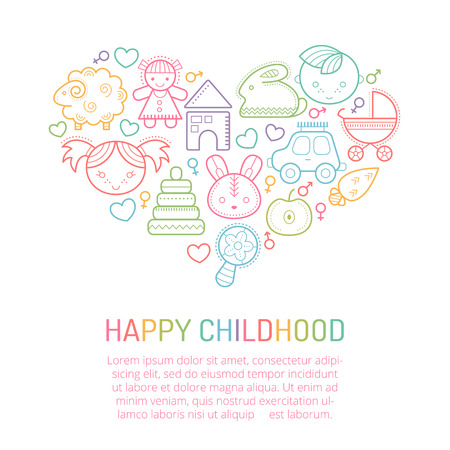 babyish: Vector illustration with outlined childrens icons forming a heart shape. Happy and bright babyish color palette. Happy childhood - lovely design layout