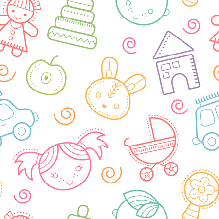 cute baby girls: Seamless baby pattern with colorful babyish elements (toys, boys and girls). Happy and bright color palette and cute outlined elements Illustration