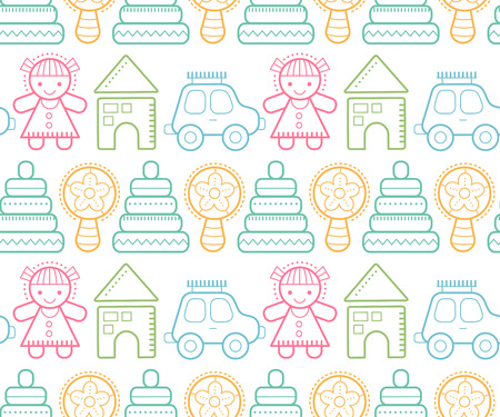 beanbag: Seamless baby pattern with colorful outlined childrens toys. Happy and colorful color palette