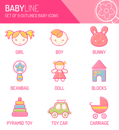 babyish: Vector design set with stroked childrens icons . Happy and bright babyish color palette. Cute contoured signs in modern flat style