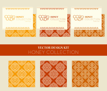 nectar: Vector design kit with business card templates and seamless patterns. Natural honey collection with ethnic regular ornament and honey emblem. Stylish ethnic design with warm palette of golden tints