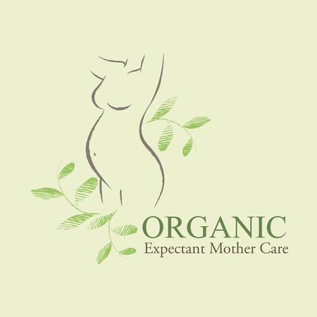 手描き緑の葉で飾られた凸凹のある妊婦シルエットの有機化粧品のデザイン要素。妊娠中の母親のケア エンブレム  イラスト・ベクター素材