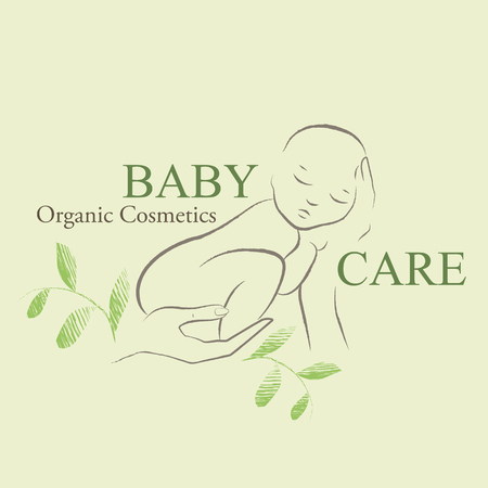 nudity: Organic Cosmetics Design element with contoured newborn baby decorated by hand drawn green leaves. Baby care emblem
