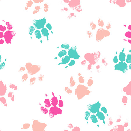 Vector seamless pattern with paw footprints of a dog (wolf). Cute hand drawn steps drawn with watercolors. Bright texture for consumer industry design Vetores