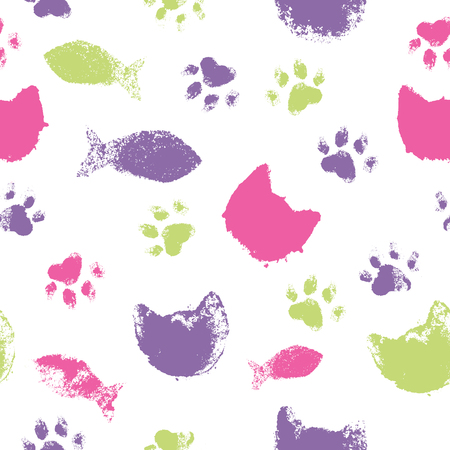 Vector seamless pattern with paw footprints, cats heads and fish. Cute hand drawn steps and snouts drawn with watercolors. Bright texture for consumer industry design