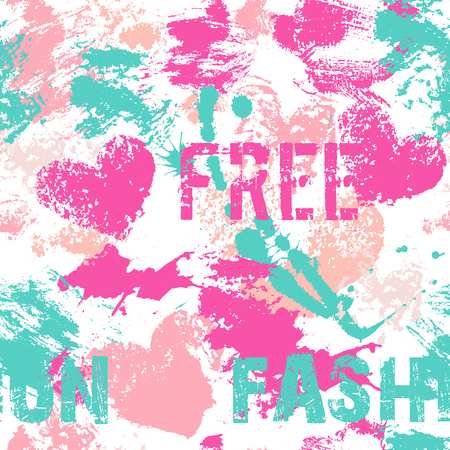 Fashionable seamless pattern with large sloppy heart prints, smears and text (free fashion). Vibrant color palette with hot pink, pale pink and sea green. Consumer industry design.