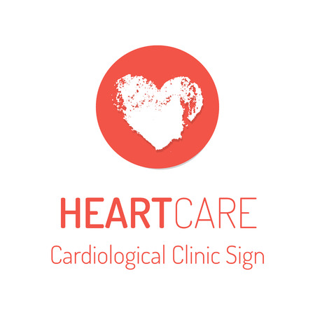 Cardiological clinic vector  . Hand drawn round badge with grungy heart Illustration