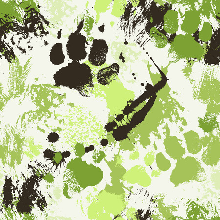 Vector seamless pattern with paw footprints of a dog (wolf), ink spatters, stains and smears. Cute hand drawn texture for consumer industry design
