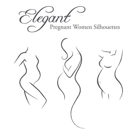 nudity: Set of elegant pregnant woman silhouettes in a linear sketch style (expectant mother, prospective mother, prenatal care)