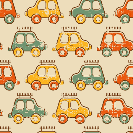 for boys: Seamless baby pattern with colorful toy cars. Warm vintage color palette and grunge texture - cute pattern for boys