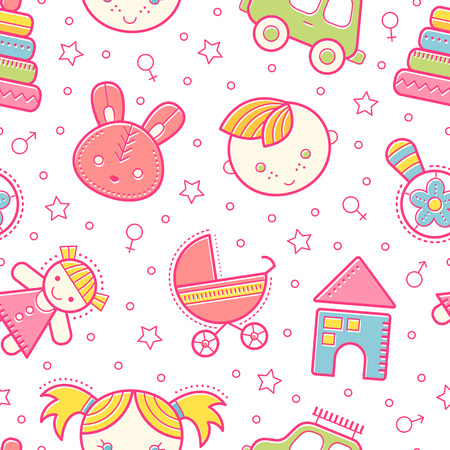 babyish: Seamless baby pattern with colorful babyish elements (toys, boys and girls). Happy bright color palette Illustration